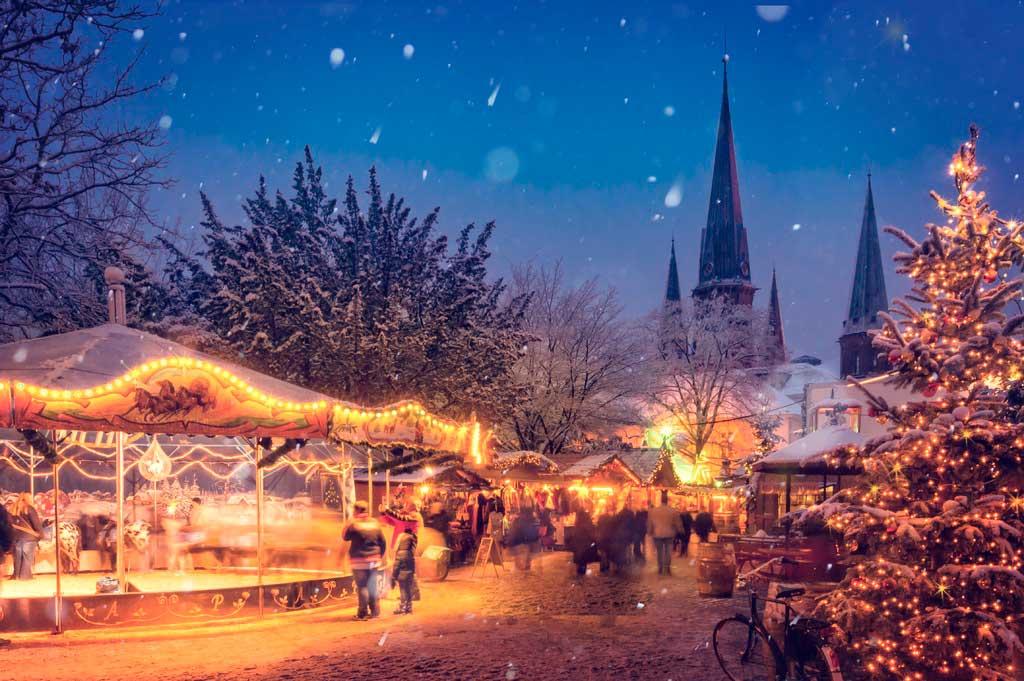 Cidade no inverno na Europa